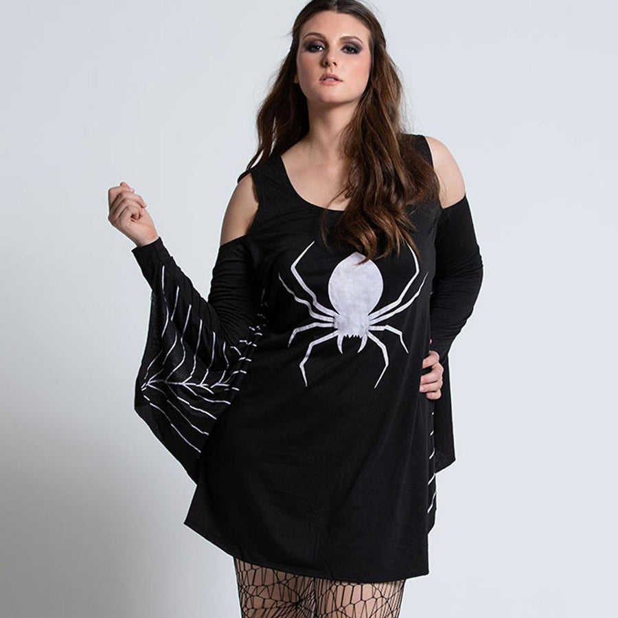 Halloween Spider Printed Cosplay Mini Dress