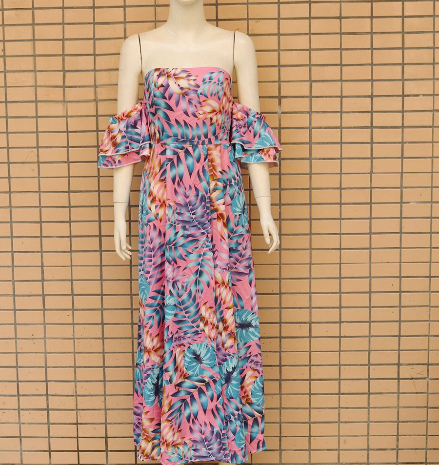 Bohemian Floral Print Off-shoulder Beach Maxi Dress