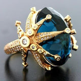 Vintage Zircon Blue Big Crystal Wedding Rings Jewelry