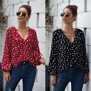 Sexy V-neck Polka-dot Printed Puff Long Sleeve Tops