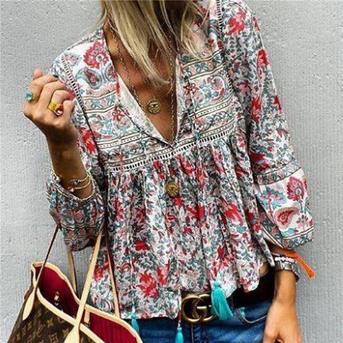 Vintage Bohemian Ethnic Floral Print Fringed Lantern Sleeve Shirt Tops