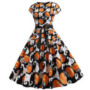 Halloween Mid-Calf Short Sleeve Print Expansion Standard-Waist Costume Mini Dress