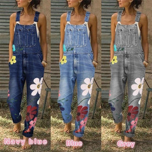 Chic Floral-Print Sleeveless Denim One-Pieces Pants Jeans