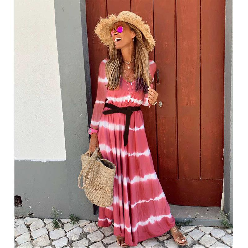 Chic V-Neck Stripe Gradient Summer Maxi Dress