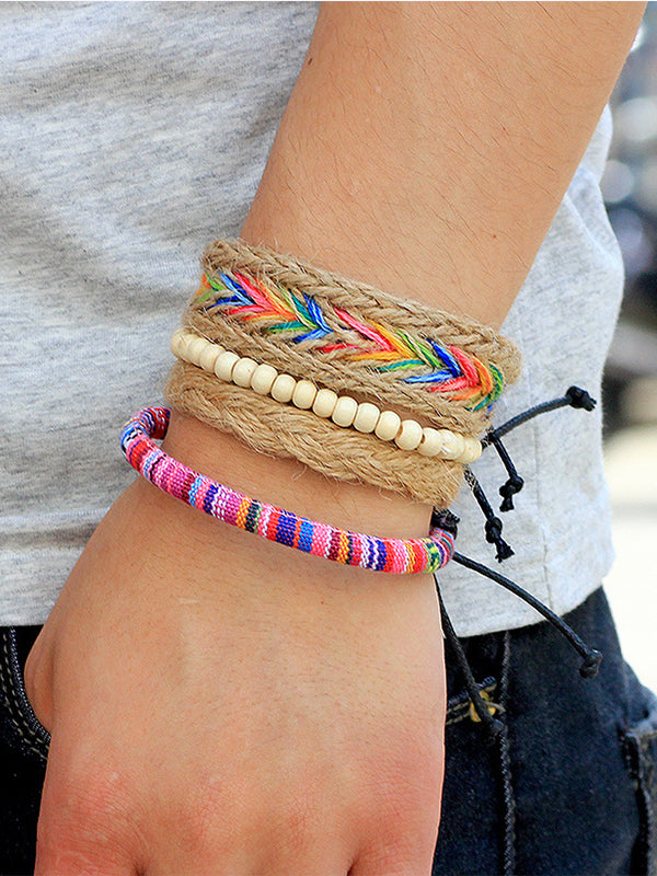 Unisex Fashion Colorful Rope Beads Multi-layer Woven Bracelet