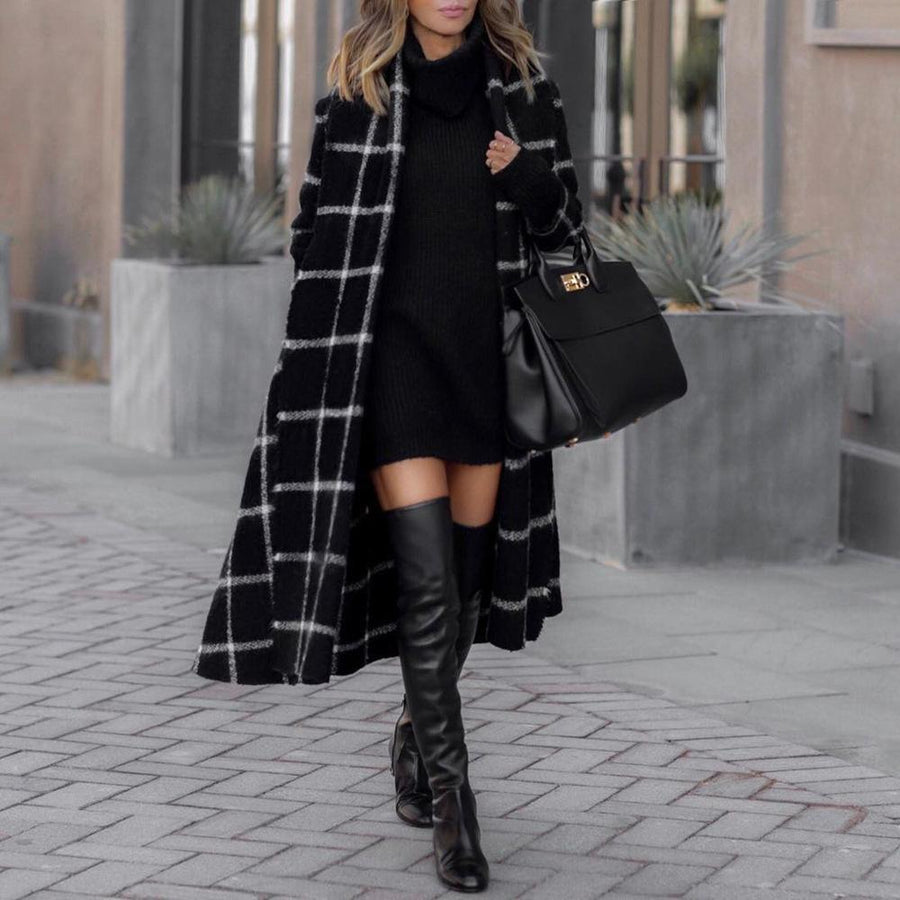 Stylish Grid Long-sleeved Jacket Overcoat