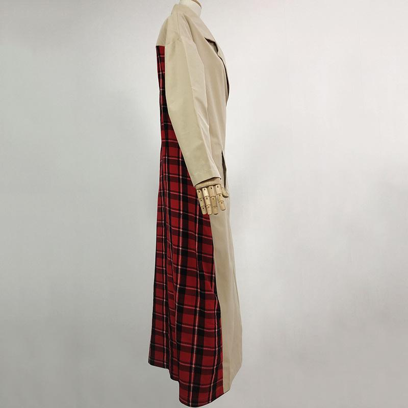 Loose Plaid Split-joint Lapel Outwears