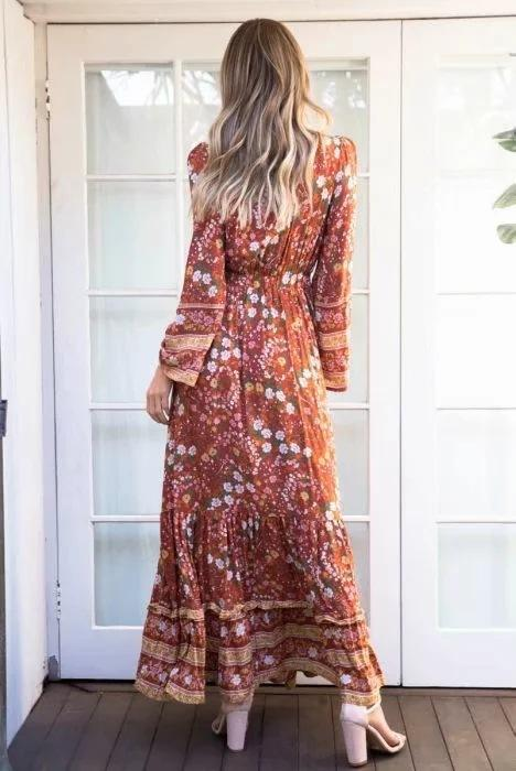 Vintage Print Loose V-neck Maxi Dress
