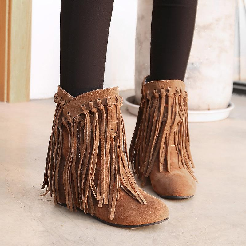 Casual Matte Leather Fringed Tassels Women's Boots Booties