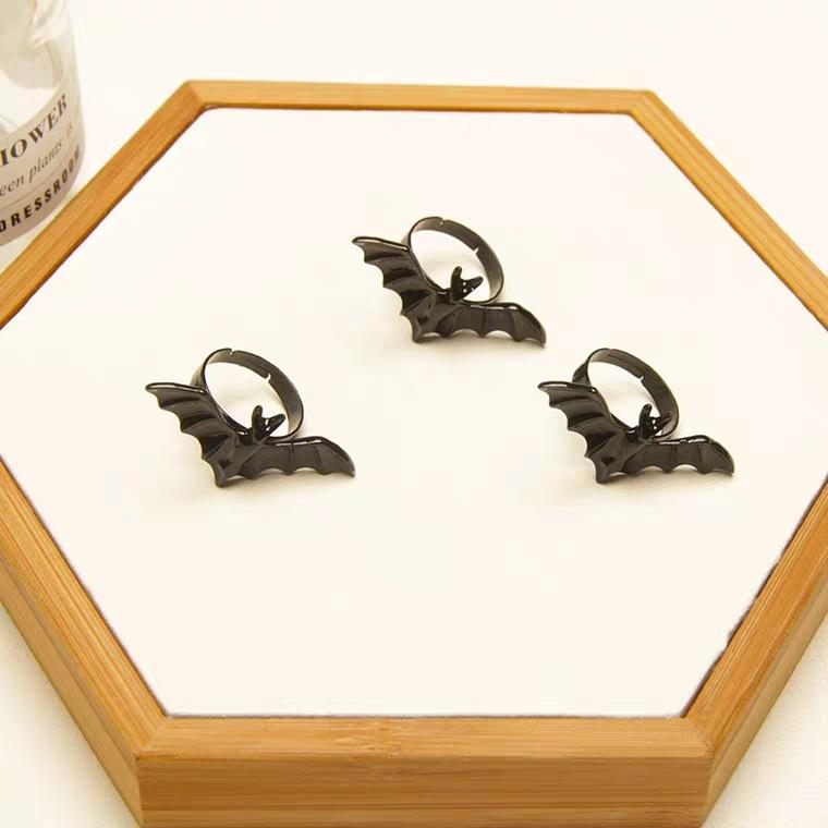 Halloween Black Bat Adjustable Rings