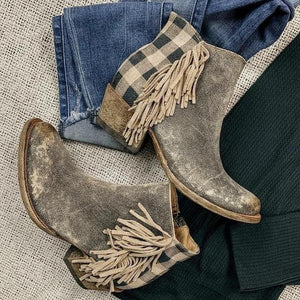 Retro Tassel Side Checked Back Zipper Chunky Heel Matin Boots