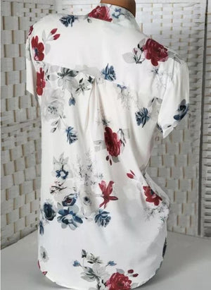 Fashion Summer Floral Print V-Neck Plus Size Loose Tops