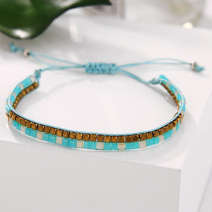 Bohemian Adjustable Sea Blue Multilayer Wave 3Pcs Bracelet Bangles