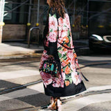 Stylish Vintage Floral Print Long Sleeve Outwears Coat
