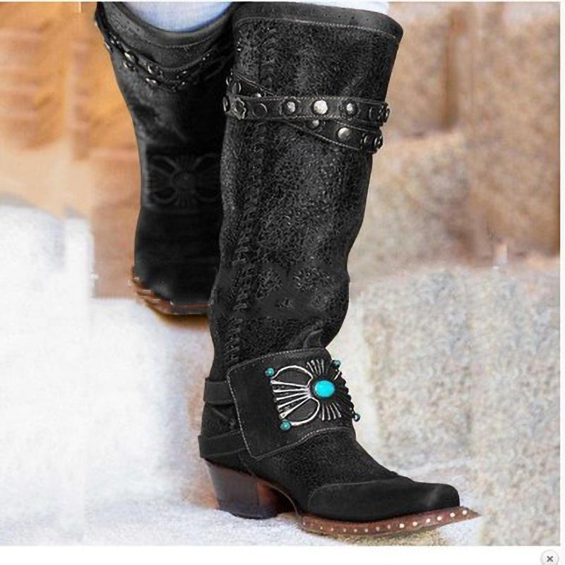 Vintage Ethic Knee High PU Leather Buckle Square Heel Boots Shoes