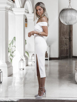 Summer off shoulder white black sexy dresses