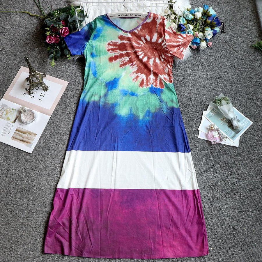 Casual Loose Gradient Color O-Neck Short Sleeve Summer Maxi Dress