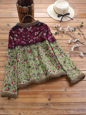 Vintage Casual Floral Print Patch Fleece Long Sleeve Jacket Coat