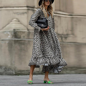 Loose Animal Printed Long Sleeve Maxi Dress