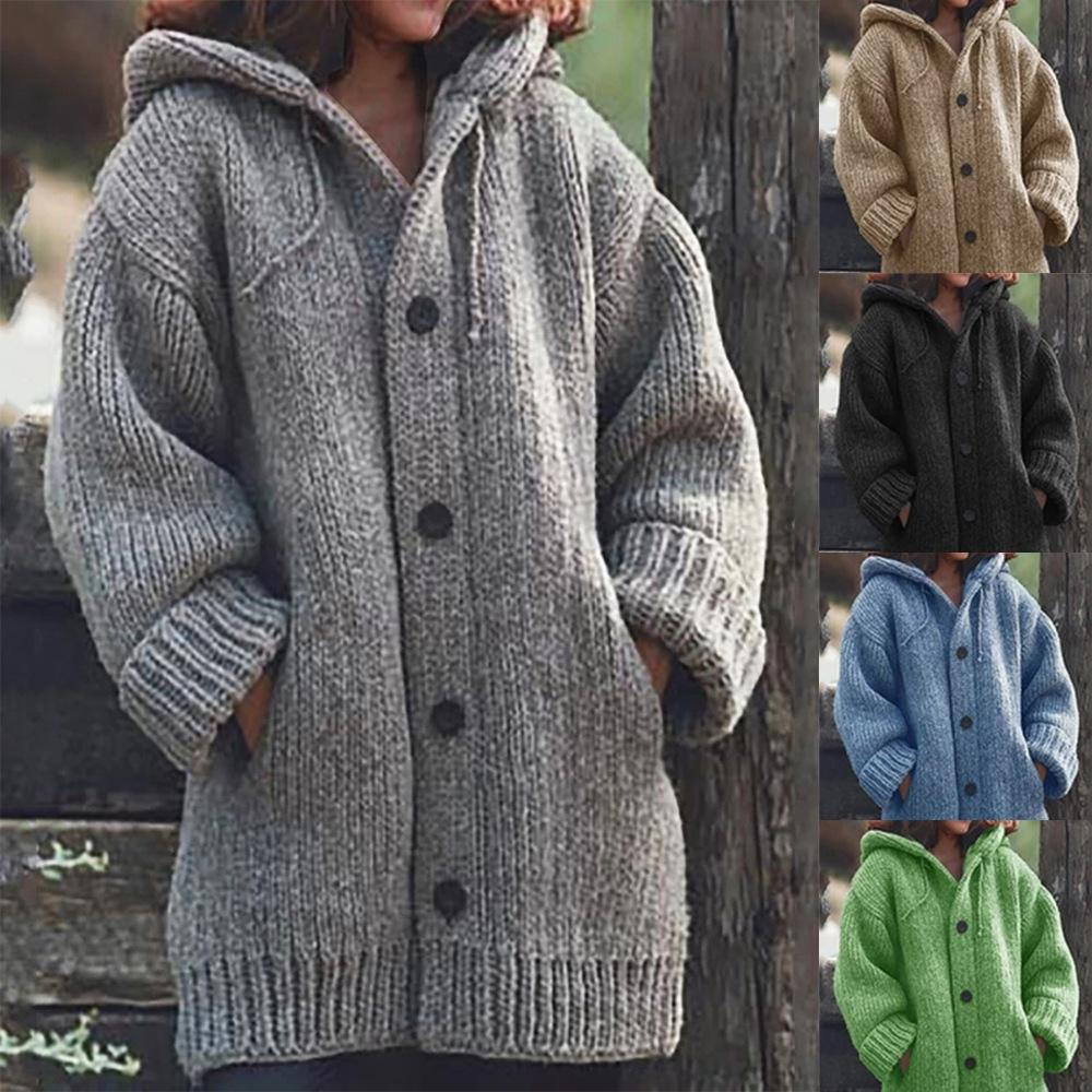 Casual Solid Color Hooded Long Sleeve Cardigan Coat