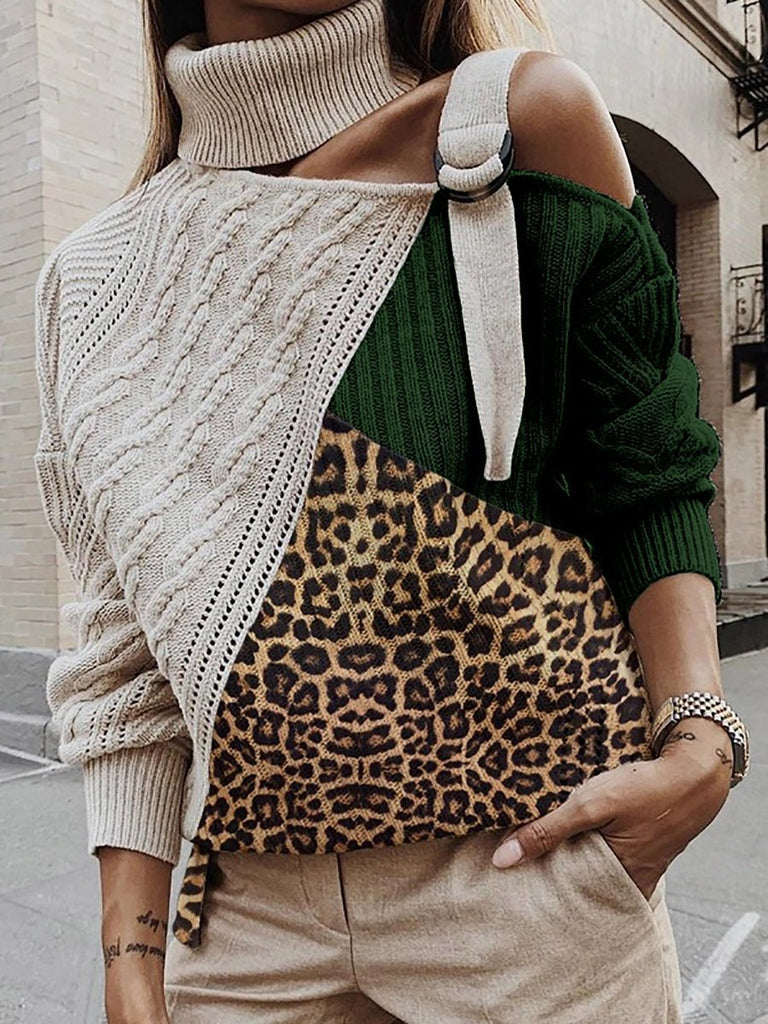 Sexy Leopard Paneled Off Shoulder Sweater Plus Size Pullovers Sweaters