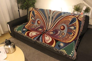 Versatile Colorful Jacquard Butterfly Tassel Cotton Throw Blanket