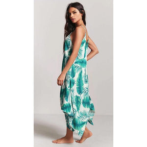 Sexy Printed Spaghetti Strap Irregular Beach Maxi Dress