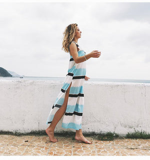 Sexy Stripe Deep V Neck Sleeveless Side Split Beach Maxi Dress