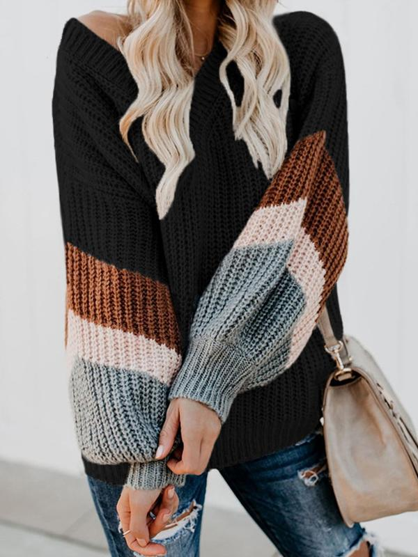 Casual V-Neck Stripe Long Sleeve Winter Sweaters