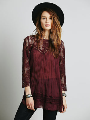 Wild Style Lace perspective stitching shirt blouse