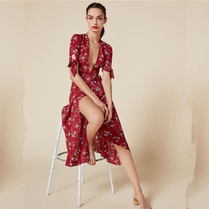V-NECK HALF-SLEEVE FLORAL BOHO LONG DRESS