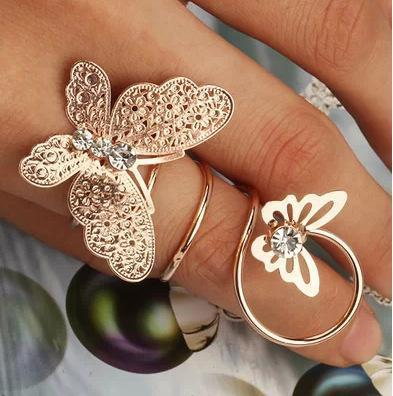 Gold Silver Sweet Butterfly Spring Ring