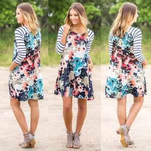 Stripe Floral Splice Long Sleeve Pockets Mini Dress