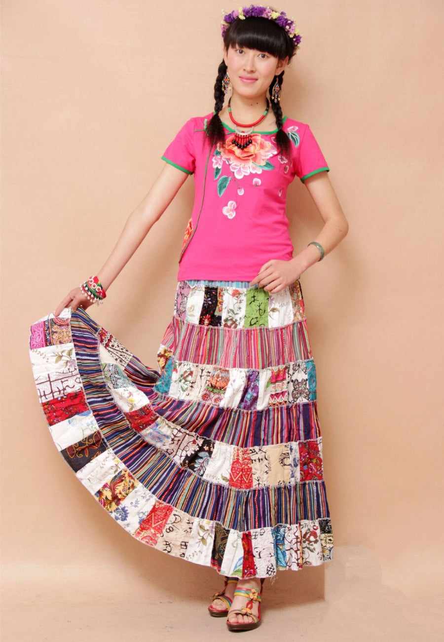 National Style Bohemian Floral Women Stitching Skirt
