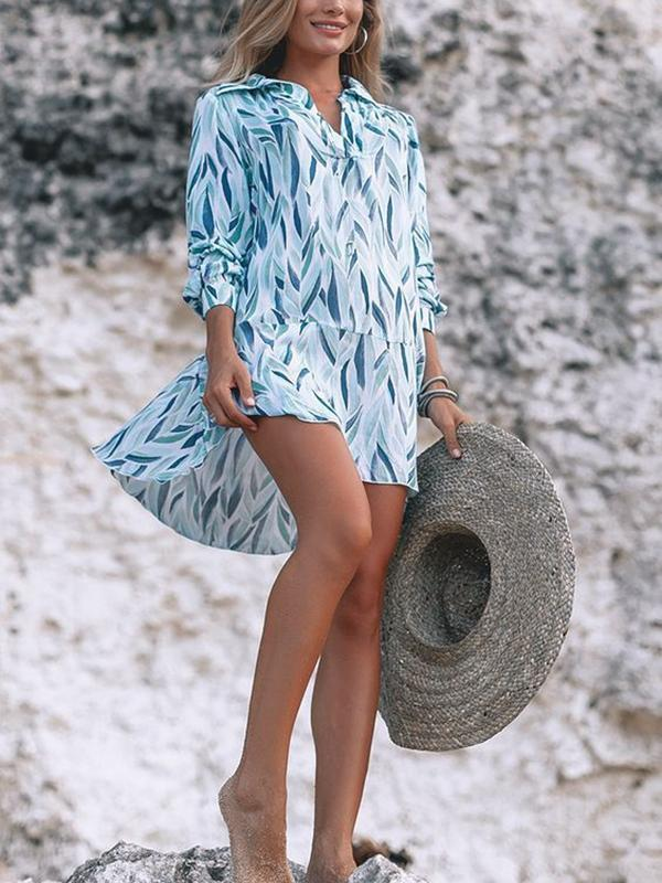 Printed Loose Shirt Blouse Casual Holiday Style