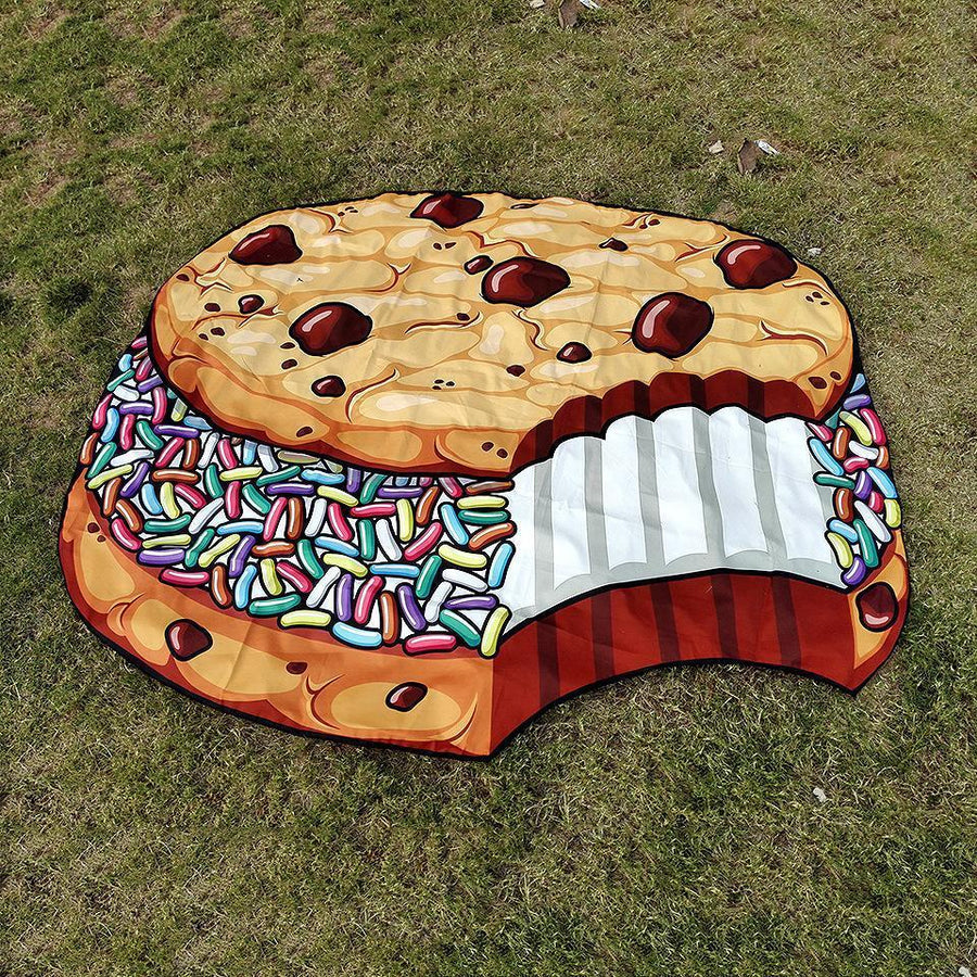 Printed New Beach Towel Shawl Chocolate Sandwich Biscuit Mat