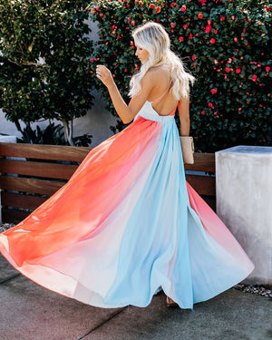 Women New Colorful Sling Print Holiday Evening Dress Maxi Dress