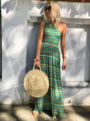 2 Colors Boho Retro One-shoulder Printed Maxi Dress