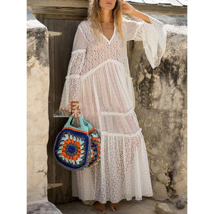Bohemian V-neck Openwork Lace Perspective Horn Sleeve Maxi Dress