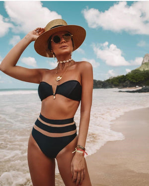Split Swimsuit V-neck Mesh Stitching Sexy High Waist Bikini