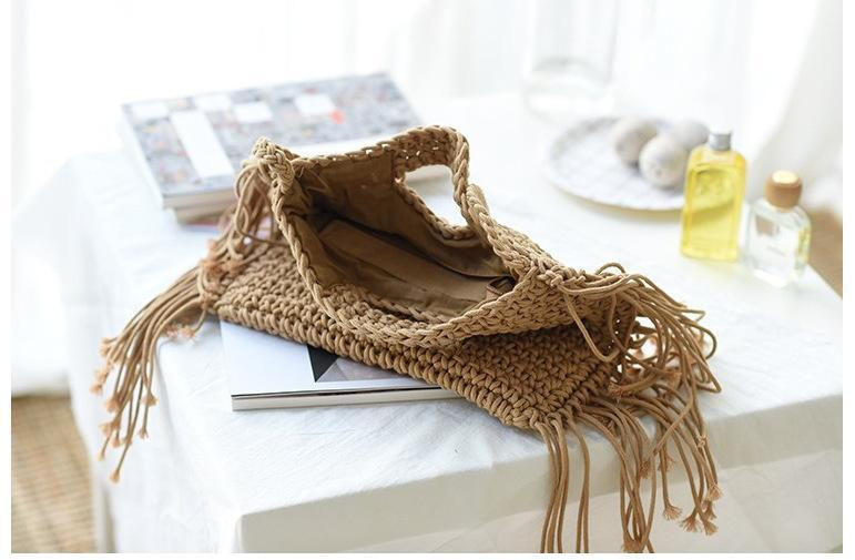 Cotton Crochet Tassel Women Bag Shoulder Slanting Clamshell Hook Flower Tassel Bag