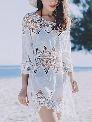Cutout Sexy Beach Bikini Cover Shirt Long Section of Sleeves Hollow Beach Sunscreen Shirt Cover Up