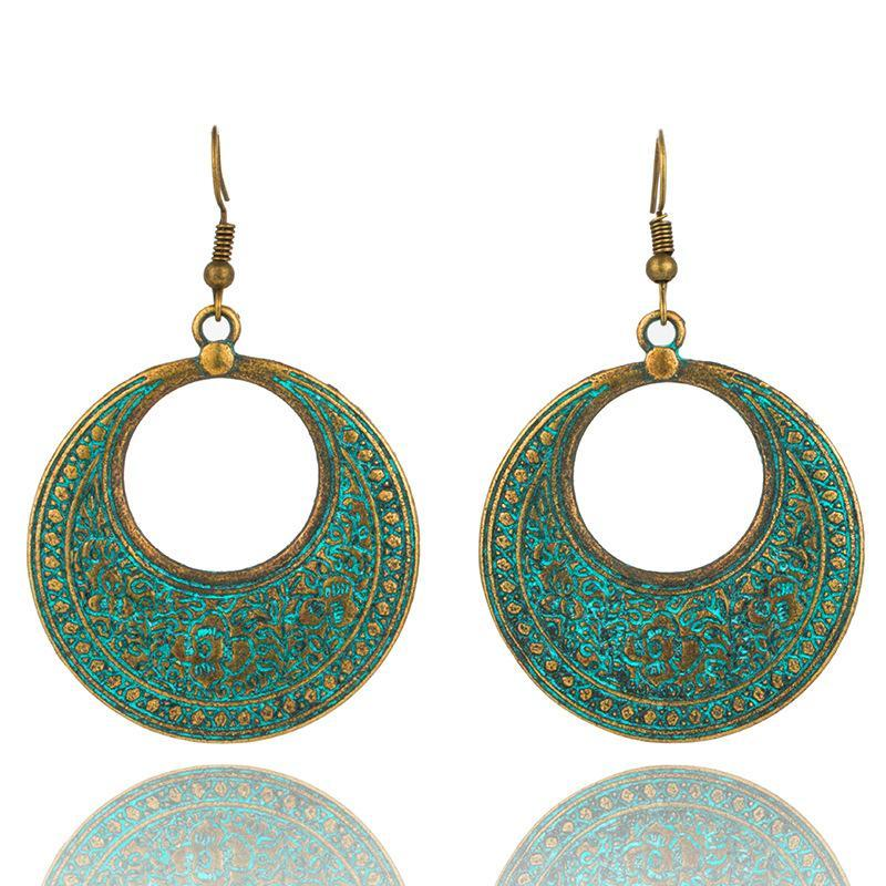 Carved Circle Bohemian Statement Exaggerated antique Green metal Earrings