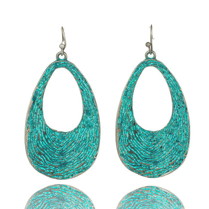 Water Drop Bohemian Statement Exaggerated antique Green metal Earrings