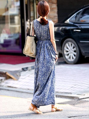 Vintage Blue Bohemian Floral Print Sleeveless Slim Beach Chiffon O-neck Maxi Dress