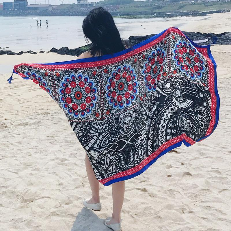 National Style Blue Side Cashew Vacation Printing Sunscreen Scarf Shawl Beach Towel