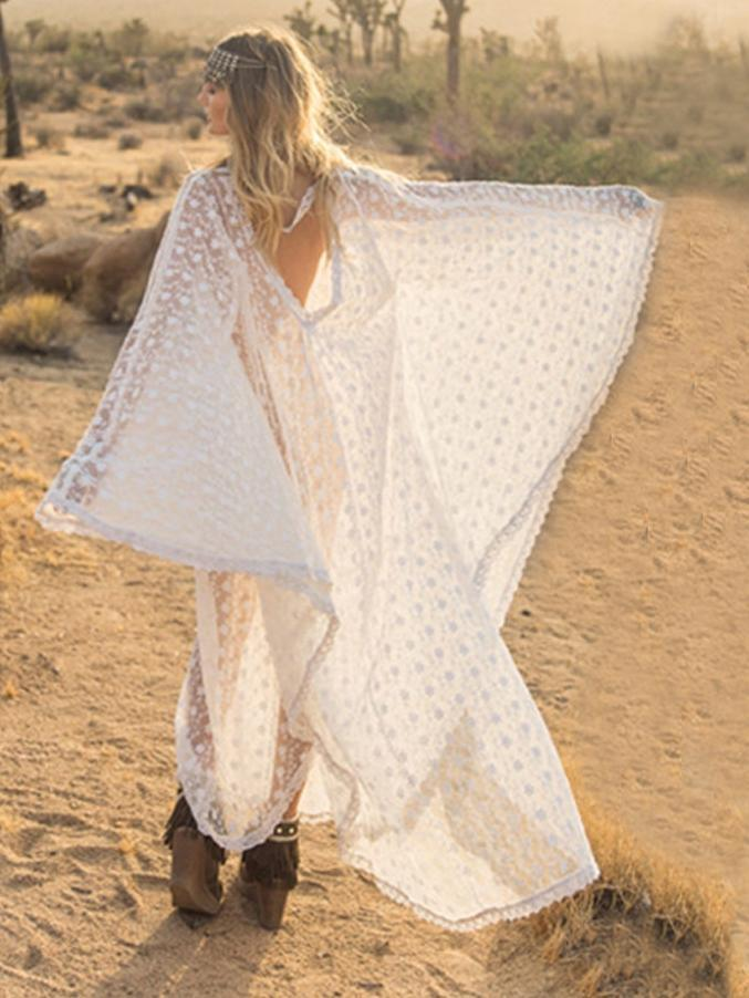 Bohemian White Lace See-Through Beach Holiday Cover ups