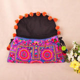 Flower Ethnic Embroidery Shoulder Cross Pom Ball Small Bag