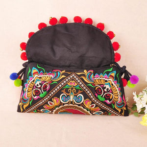 Ethnic Embroidery Shoulder Cross Pom Ball Small Bag - Voguetide