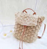 Retro Straw Drawstring Bag Beach Travel Shoulder Bag